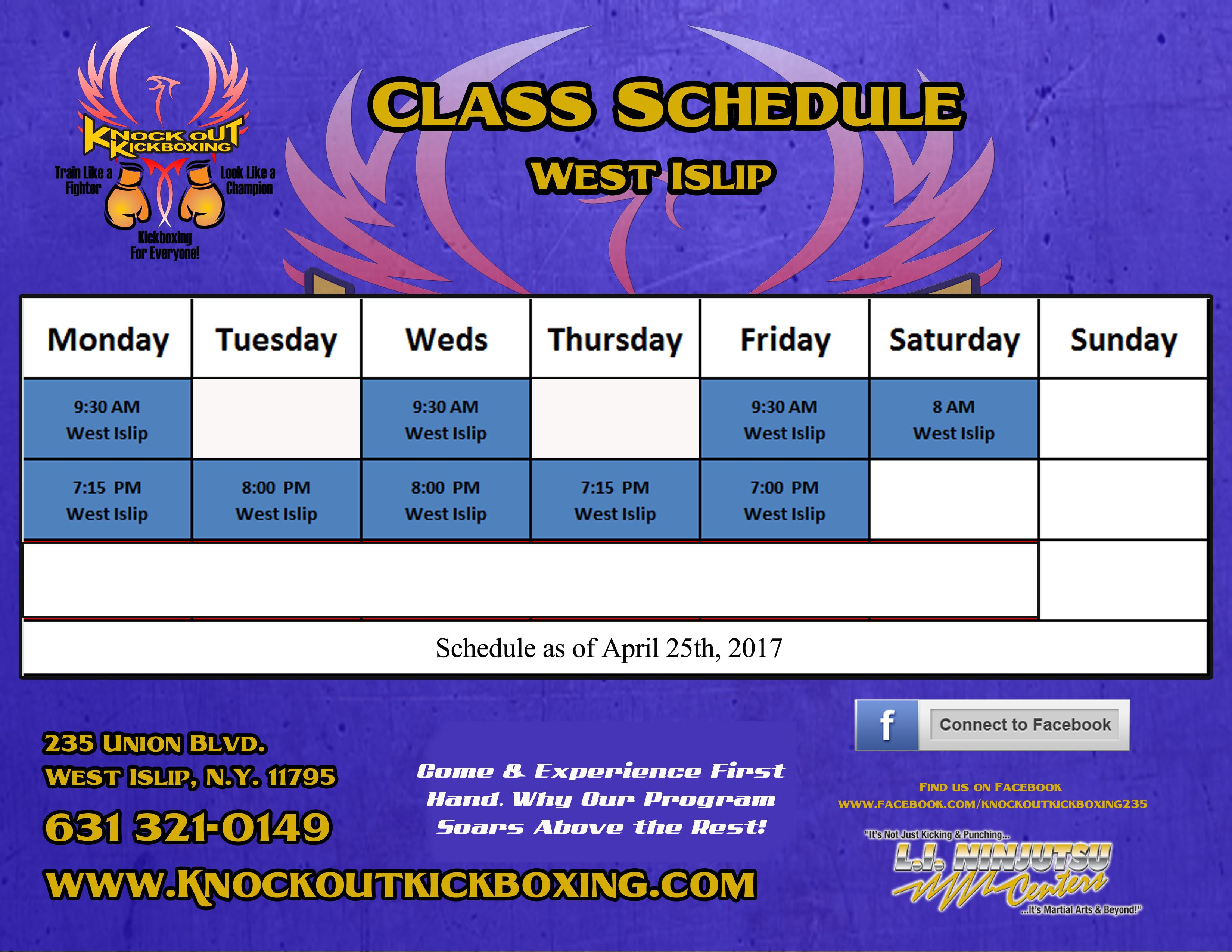 Knock Out Kickboxing Schedule West Isip April of 2017